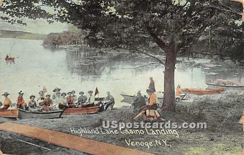 Highland Lake Casino Landing - Highland Lake (Venoge, New York NY Postcard