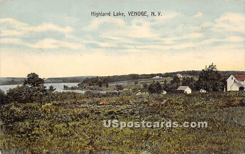Birds Eye View - Highland Lake (Venoge, New York NY Postcard
