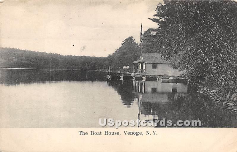Boat House - Highland Lake (Venoge, New York NY Postcard
