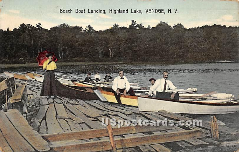 Bosch Boat Landing - Highland Lake (Venoge, New York NY Postcard