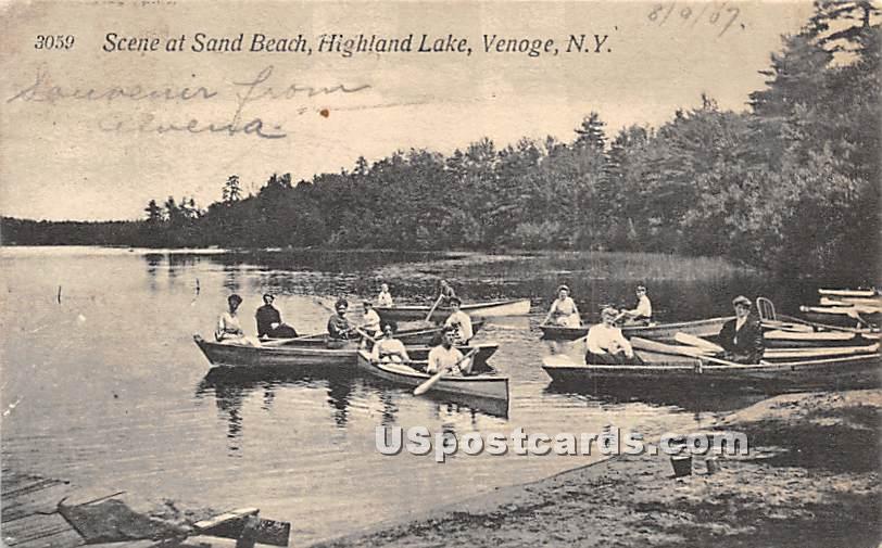 Scene at Sand Beach - Highland Lake (Venoge, New York NY Postcard