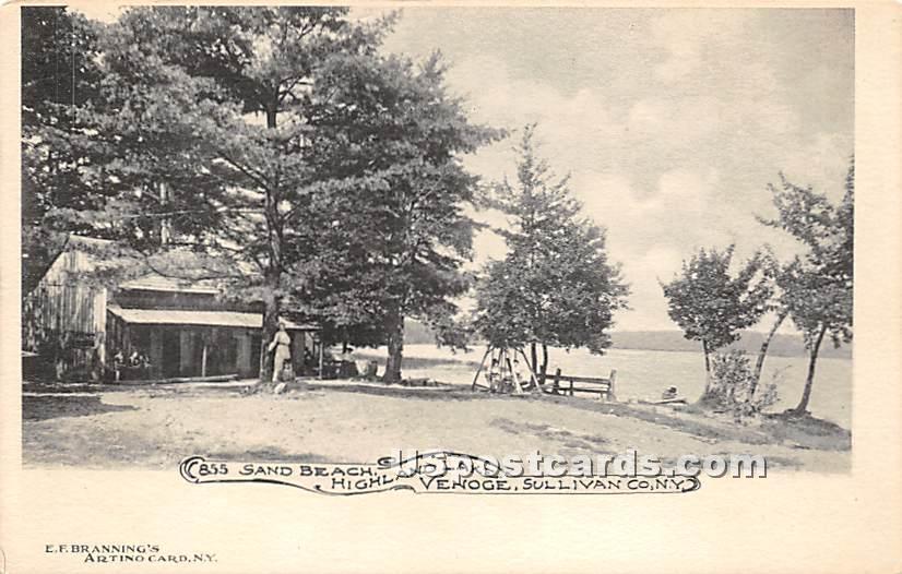 San Beach - Highland Lake (Venoge, New York NY Postcard
