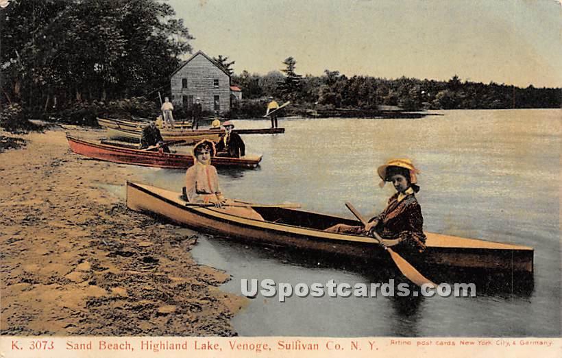 Sand Beach - Highland Lake (Venoge, New York NY Postcard