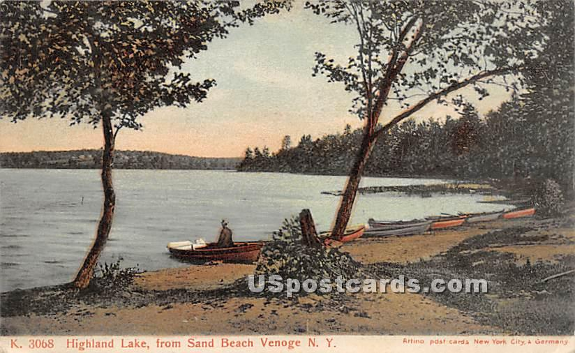 View from Sand Beach - Highland Lake (Venoge, New York NY Postcard