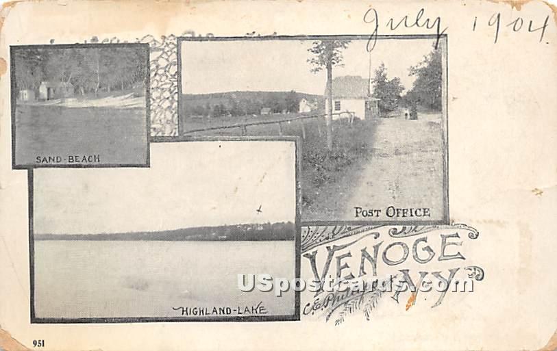 Post Office - Highland Lake (Venoge, New York NY Postcard