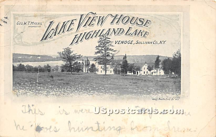 Lake View House - Highland Lake (Venoge, New York NY Postcard