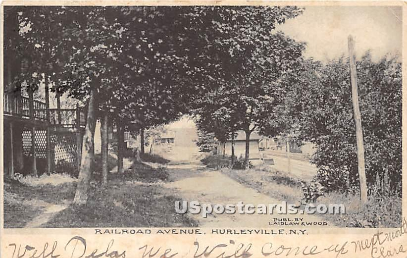 Railroad Avenue - Hurleyville, New York NY Postcard
