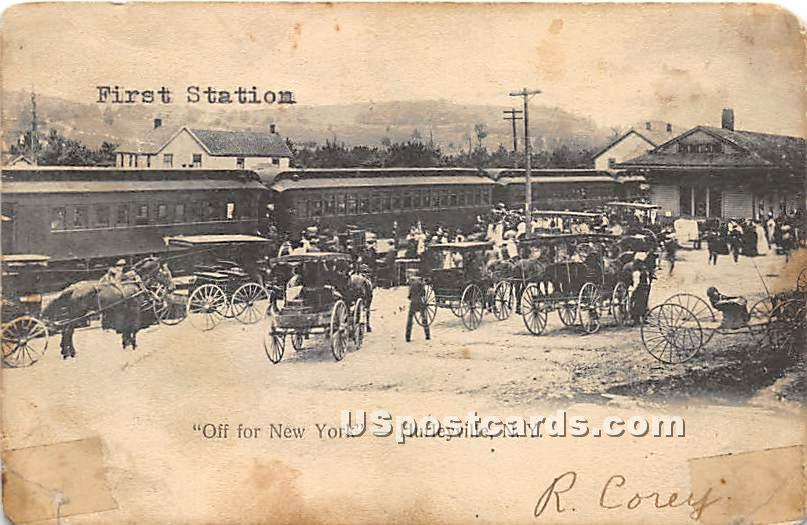 Off for New York - Hurleyville Postcard