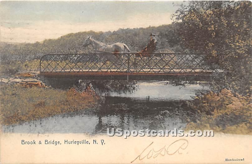 Brook & Bridge - Hurleyville, New York NY Postcard