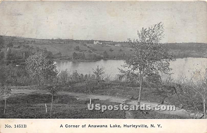 Corner of Anawana Lake - Hurleyville, New York NY Postcard