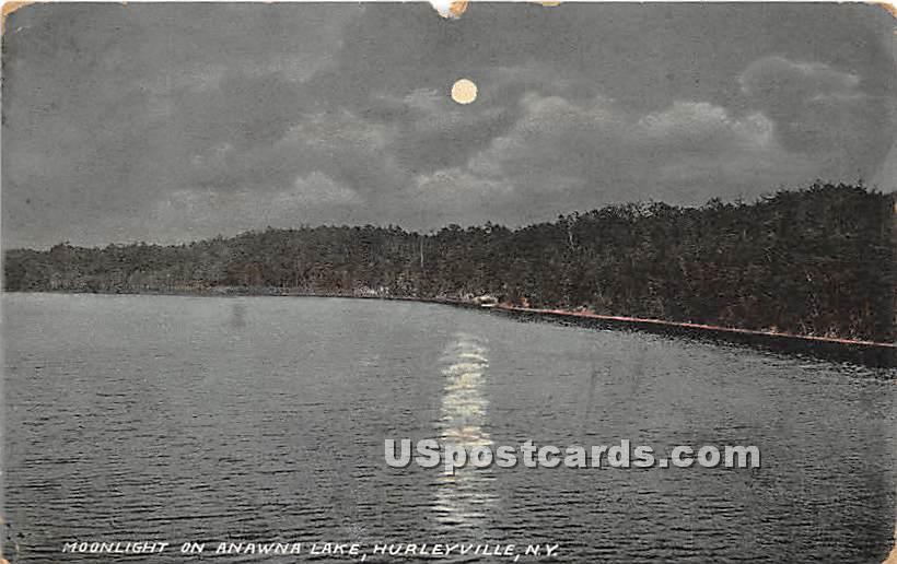 Moonlight on Anawana Lake - Hurleyville, New York NY Postcard