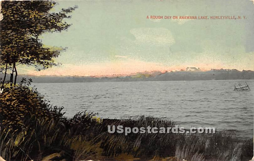 Rough Day on Anawana Lake - Hurleyville, New York NY Postcard