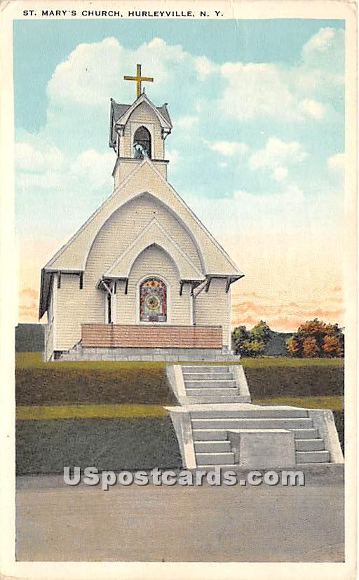 St Mary's Church - Hurleyville, New York NY Postcard