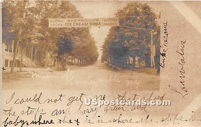 Main Street, Sherwoods Ice Cream Soda - Hurleyville, New York NY Postcard