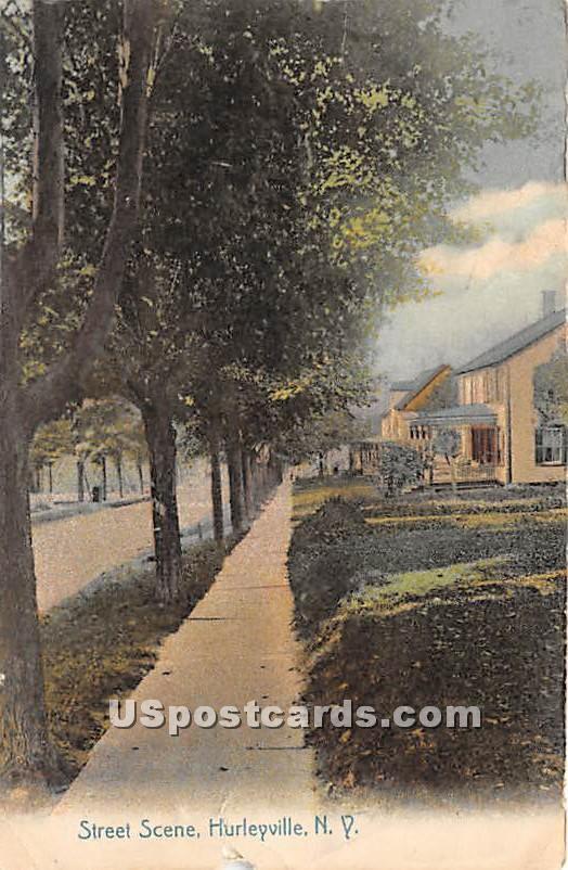 Street Scene - Hurleyville, New York NY Postcard
