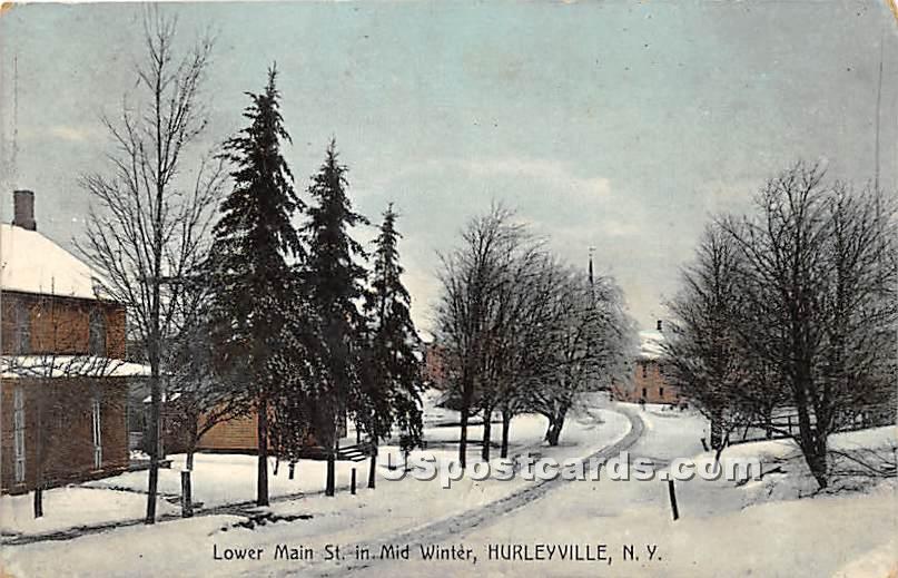 Lower Main Street - Hurleyville, New York NY Postcard