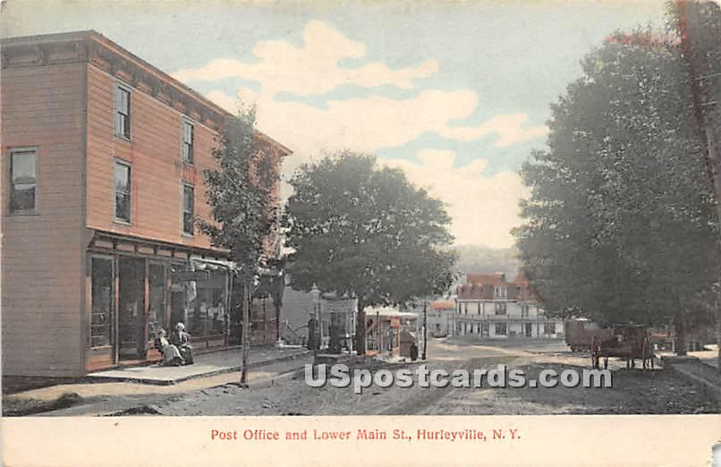 Post Office and Lower Main Street - Hurleyville, New York NY Postcard