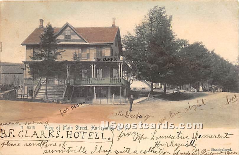 View of Main Street - Hurleyville, New York NY Postcard