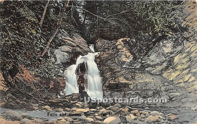 Falls and Brook Scene - Hurleyville, New York NY Postcard