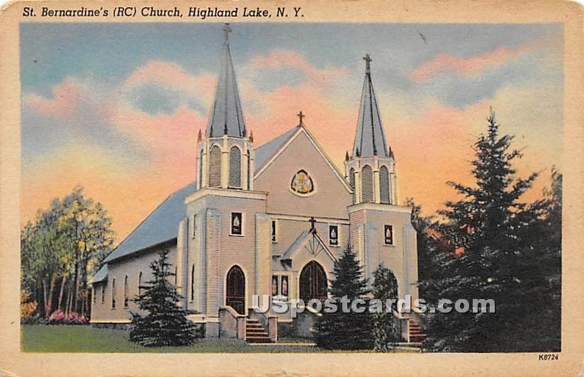 St Bernardine's RC Church - Highland Lake (Venoge, New York NY Postcard