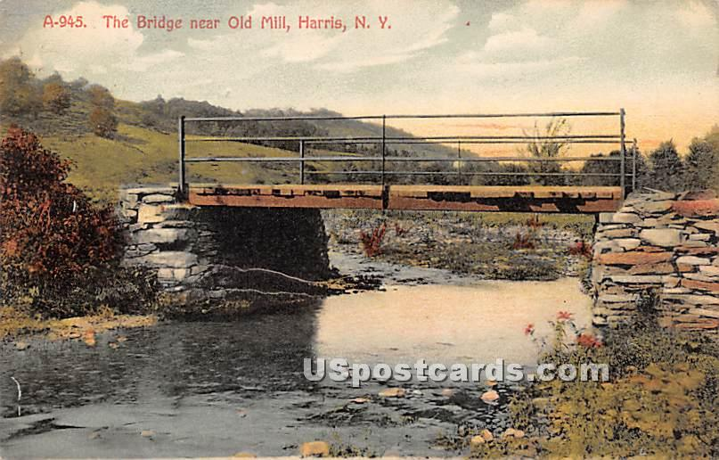 Bridge near Old Mill - Harris, New York NY Postcard