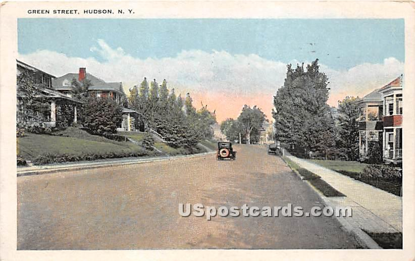 Green Street - Hudson, New York NY Postcard