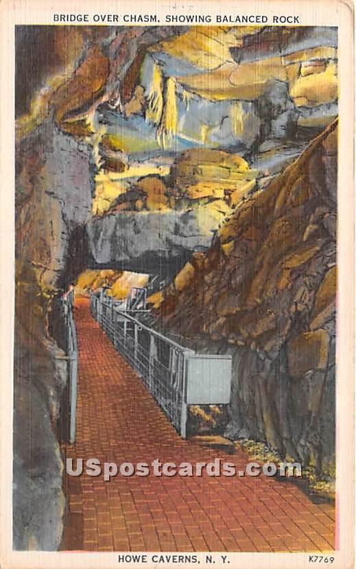 Bridge Over Chasm & Under Balance Rock - Howe Caverns, New York NY Postcard