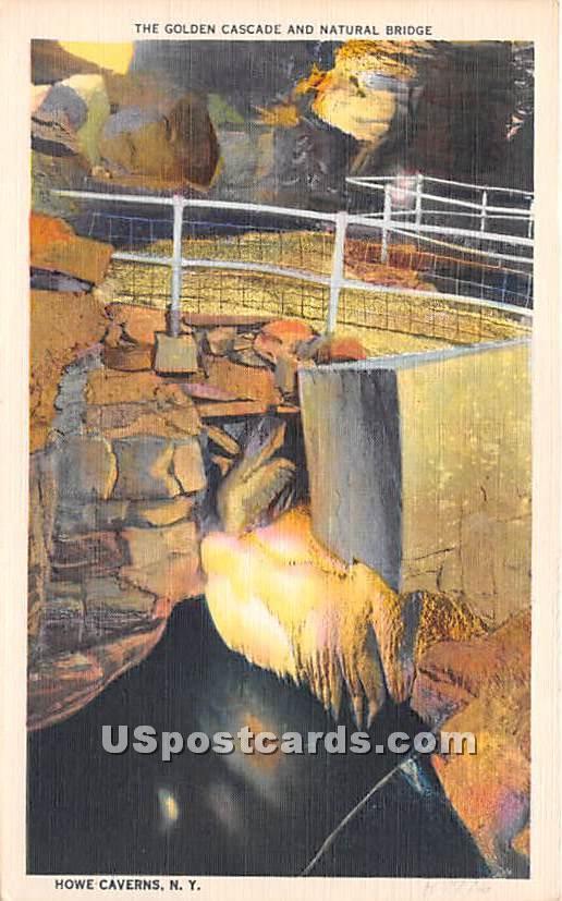 Golden Cascade, Natural Bridge - Howe Caverns, New York NY Postcard