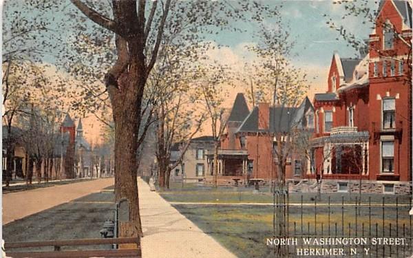 North Washington Street Herkimer, New York Postcard