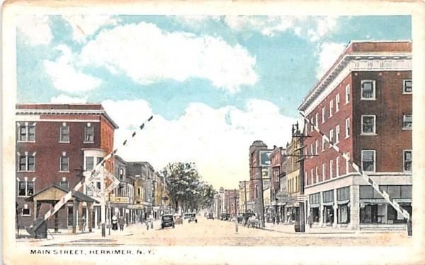 Main Street Herkimer, New York Postcard