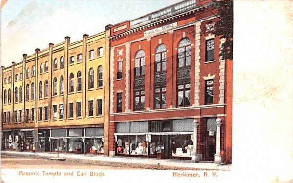 Masonic Temple & Earl Block Herkimer, New York Postcard