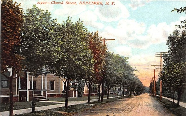 Church Street Herkimer, New York Postcard