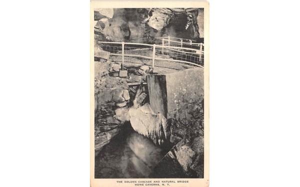 Golden Cascade and Natural Bridge Howe Caverns, New York Postcard