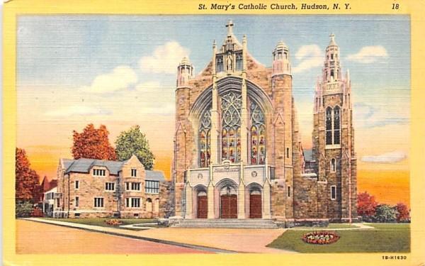 St Mary's Catholic Church Hudson, New York Postcard