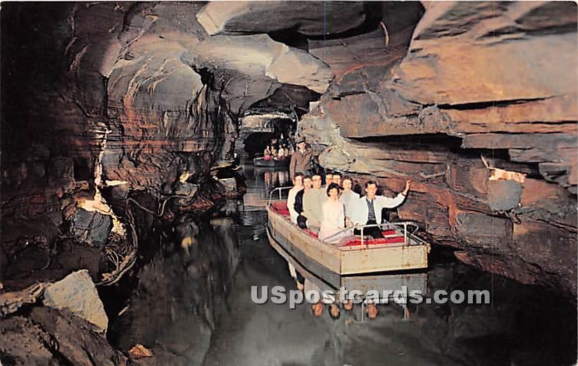 Underground Boating at Howe Caverns - New York NY Postcard