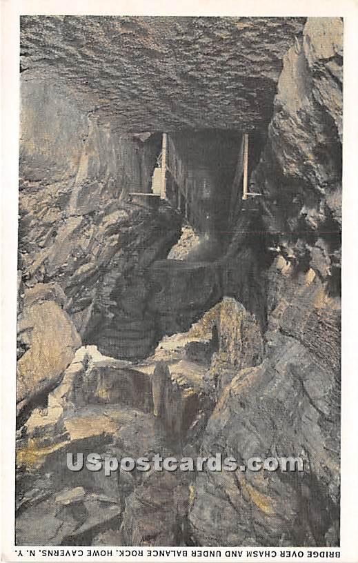Bridge over Chasm, Balance Rock - Howe Caverns, New York NY Postcard
