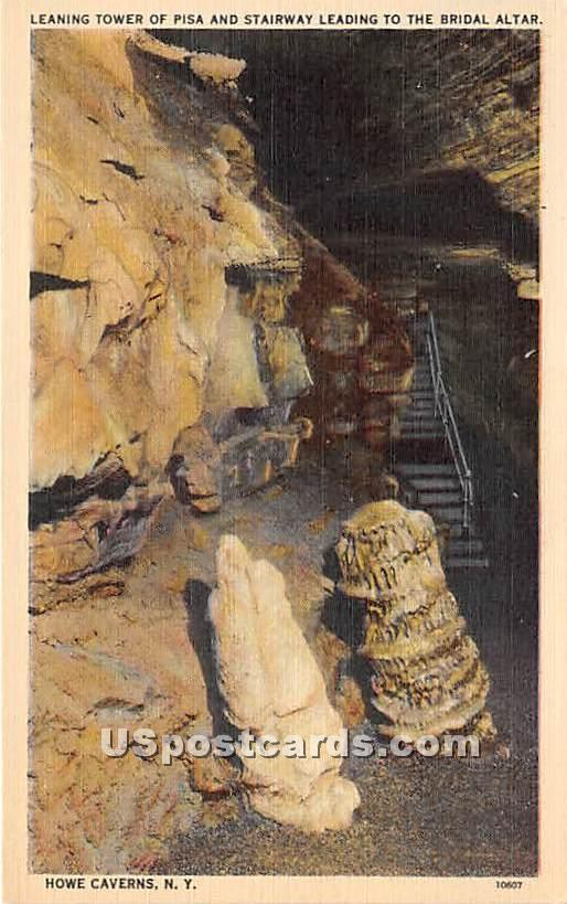 Leaning Tower of Pisa, Bridal Altar - Howe Caverns, New York NY Postcard