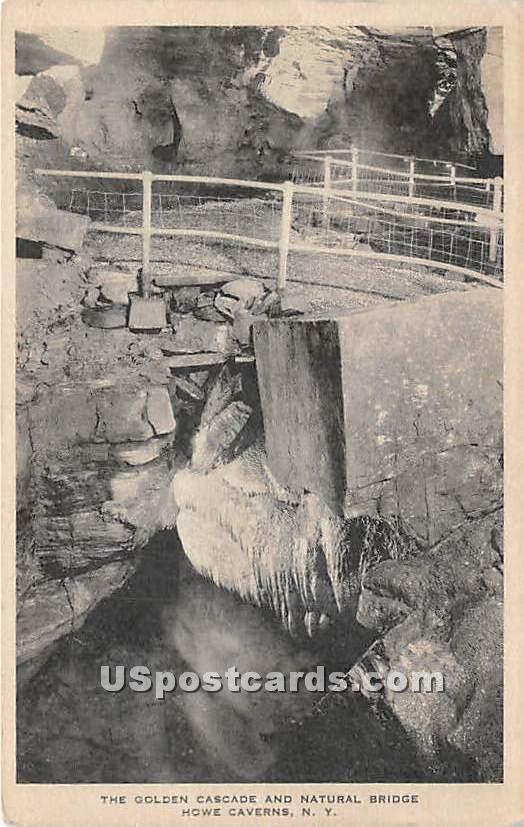 Golden Cascade & Natural Bridge - Howe Caverns, New York NY Postcard