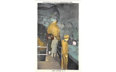 Telephoning at Head of Underground Lake Howe Caverns, New York Postcard
