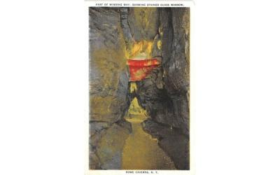 Stained Glass Window Howe Caverns, New York Postcard