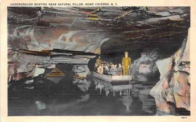 Underground Boating & Natural Pillar Howe Caverns, New York Postcard
