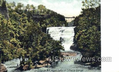 Main Falls - Ithaca, New York NY Postcard