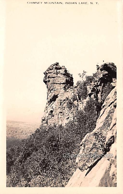 Chimney Mountain - Indian Lake, New York NY Postcard