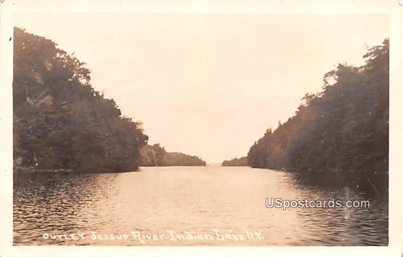 Outlet Jessup River - Indian Lake, New York NY Postcard