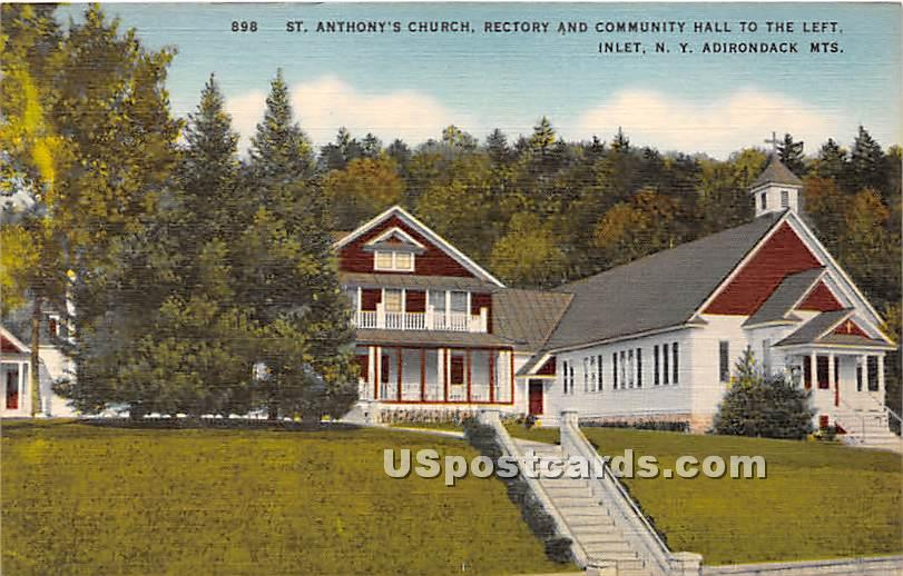 St Anthony's Church - Inlet, New York NY Postcard