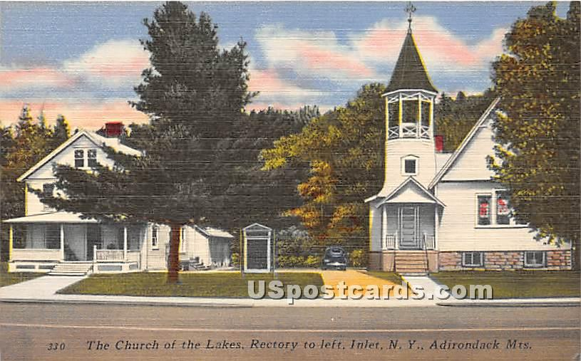 Church of the Lakes - Inlet, New York NY Postcard