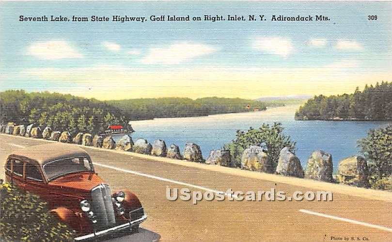Seventh Lake, State Highway - Inlet, New York NY Postcard