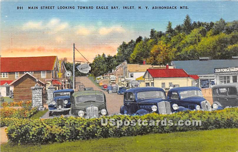 Main Street, Eagle Bay - Inlet, New York NY Postcard