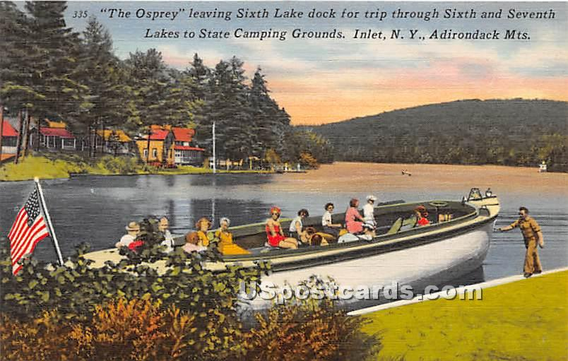 The Osprey, Sixth Lake Dock - Inlet, New York NY Postcard