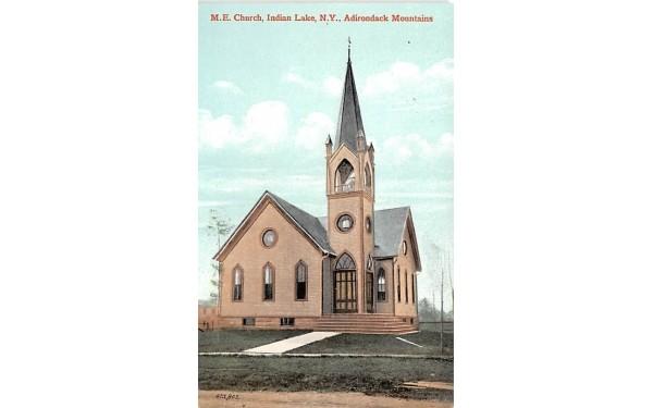 ME Church Indian Lake, New York Postcard